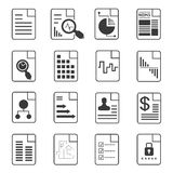 Files, document icons. Set of 16 file, document icons Stock Photo