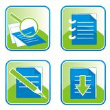 Files and Document Icons set for web. Icon set for Web and Internet (set of 4 icons, or buttons - web 2.0 style Stock Photography