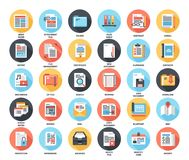 Files and documents flat icons. Abstract vector set of colorful flat files and documents icons with long shadow. Concepts and design elements for mobile and web Stock Image