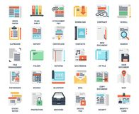 Files and documents flat icons. Vector set of files and documents flat web icons. Each icon neatly designed on pixel perfect 48X48 size grid. Fully editable and Royalty Free Stock Images