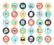 Files and documents flat icons. Vector set of files and documents flat web icons. Each icon neatly designed on pixel perfect 48X48 size grid. Fully editable and Stock Image