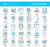 Files and documents flat line icons. Vector set of files and documents flat line web icons. Each icon with adjustable strokes neatly designed on pixel perfect Royalty Free Stock Photos