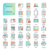 Files and documents flat line icons Stock Photo