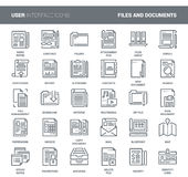 Files and documents flat line icons. Vector set of files and documents flat line web icons. Each icon with adjustable strokes neatly designed on pixel perfect Stock Image