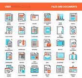 Files and documents flat line icons. Vector set of files and documents flat line web icons. Each icon with adjustable strokes neatly designed on pixel perfect Royalty Free Stock Photo