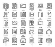 Files and documents flat line icons Royalty Free Stock Photos