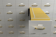 Files Drawers. Filing cabinet with folders in drawer Royalty Free Stock Photography