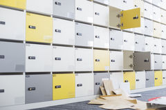 Files fallen in locker room at creative office Royalty Free Stock Image
