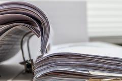 Files folder on desk white. Files folder with white paper on office desk royalty free stock photography