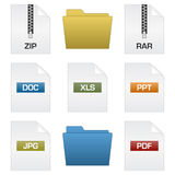 Files and folders. Files with extensions and folder design Royalty Free Stock Image