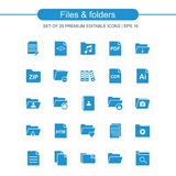 Files and folders icons set blue. For web design and application interface, also useful for infographics. Vector illustration Royalty Free Stock Images