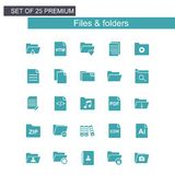 Files and folders icons set blue. For web design and application interface, also useful for infographics. Vector illustration Royalty Free Stock Photos