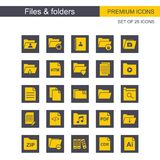 Files and folders icons set grey and yellow. For web design and application interface, also useful for infographics. Vector illustration Royalty Free Stock Images