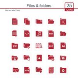 Files and folders icons set red. For web design and application interface, also useful for infographics. Vector illustration Stock Image
