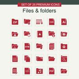 Files and folders icons set red. For web design and application interface, also useful for infographics. Vector illustration Royalty Free Stock Photography