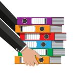 Files in hand, ring binders, office folders. Files in hand, ring binders, colorful office folders. Side view. Bureaucracy, paperwork and office. Vector Royalty Free Stock Photo