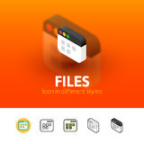 Files icon in different style. Files color icon, vector symbol in flat, outline and isometric style  on blur background Stock Photos