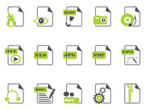 Files icon set,green series. Isolated files icon set with green color on white background Royalty Free Stock Images