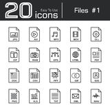 Files icon set 1. Jpg  avi  mp3  mov  dll  zip  raw  eps  html  pdf  doc  csv  ppt  gif  exe  png  xls  txt  eml  wav Stock Images