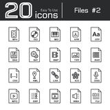 Files icon set 2. Mp4  iso  mid  apk  otf  bak  bat  bmp  tif  rar  css  kml  ink  ico  ogg  mpg  swf  3gp  wma  flv Royalty Free Stock Image