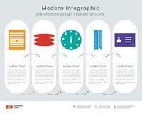 Files infographics design. Infographics design  and Files, Layers, Speedometer, Settings, Id card icons can be used for workflow layout, diagram, annual report Stock Photo
