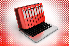 Files Inside Laptop in Halftone Background Royalty Free Stock Photography