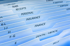 Files Insurance Personal Data Information. Files with insurance, receipts, finance, bills, personal, taxes and banking on the tabs Stock Images