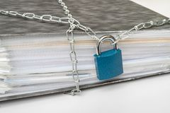Files locked with chain and padlock - data and privacy security royalty free stock photography
