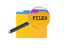 Files Magnifying Glass. Colored office files under magnifying glass Stock Photography
