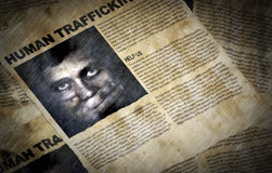 Files with missing people. Old files in the water with informations about  Human Trafficking with selective focus Royalty Free Stock Photo