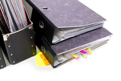 Files in the office folders. Colored Files in the office folders Stock Photos