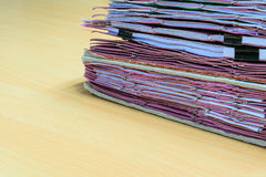 Files in old folder. Stacking up in a messy order Royalty Free Stock Photography