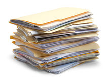 Files Piled Up. Files Stacked in a Pile Isolated on White Background Royalty Free Stock Photography