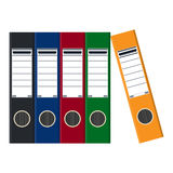 Files, ring binders, colorful office folders. Stock Images