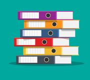 Files, ring binders,. Colorful office folders. Side view. Bureaucracy, paperwork and office. illustration in flat style Royalty Free Stock Image