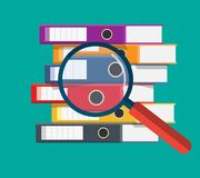 Files, ring binders and and magnifying glass,. Colorful office folders. Side view. Bureaucracy, paperwork and office. Vector illustration in flat style Royalty Free Stock Photo