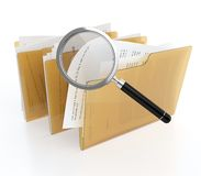 Files search. 3D illustration of folder with files and magnifying glass. Files search Stock Photo