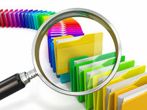 Files search. Folders and loupe on white background. Royalty Free Stock Photography
