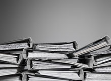 Files stacked on a desk Stock Image