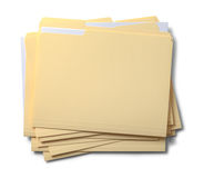 Files Stacked. Group of Stacked Files Top View Isolated on White Background Royalty Free Stock Image