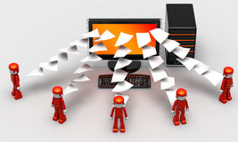 Files Transfer. 3D illustration of computer transferring files to red people Stock Images