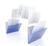 Files transfer. 3D illustration of two blue folder icons and files transfer Stock Photos