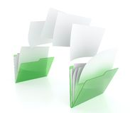 Files transfer. 3D illustration of two green folder icons and files transfer Royalty Free Stock Photos