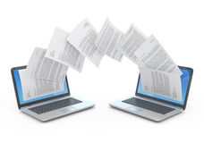 Files transfer. Files transfer between laptops. 3d illustration Royalty Free Stock Photography