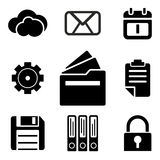 Files web and mobile logo icons collection. On white back. Vector symbols of documents, lock, gear and etc Stock Photos
