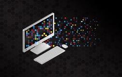 Filesharing- Konzepte Isometrische Gestaltungselemente auf dem schwarzen Hintergrund Übertragungscomputer der Informationen vektor abbildung