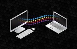 Filesharing- Konzepte Isometrische Gestaltungselemente auf dem schwarzen Hintergrund lizenzfreie abbildung