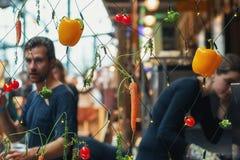 Filet avec des lumières de Noël décorées avec différents types de vege Photos libres de droits