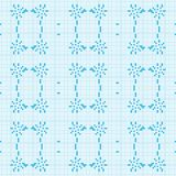 Filet crochet lace design. Seamless background in blue Stock Images
