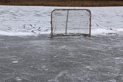 Filet d'hockey d'étang photographie stock